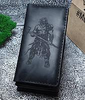 Мужской кожаный кошелек Викинг 2.0 черный + упаковка в подарок