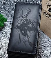 Мужской кожаный кошелек Охотник черный + упаковка в подарок, фото 1