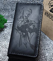 Мужской кожаный кошелек Охотник черный + упаковка в подарок