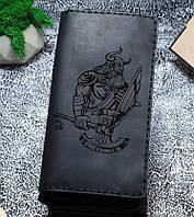 Мужской кожаный кошелек Викинг черный