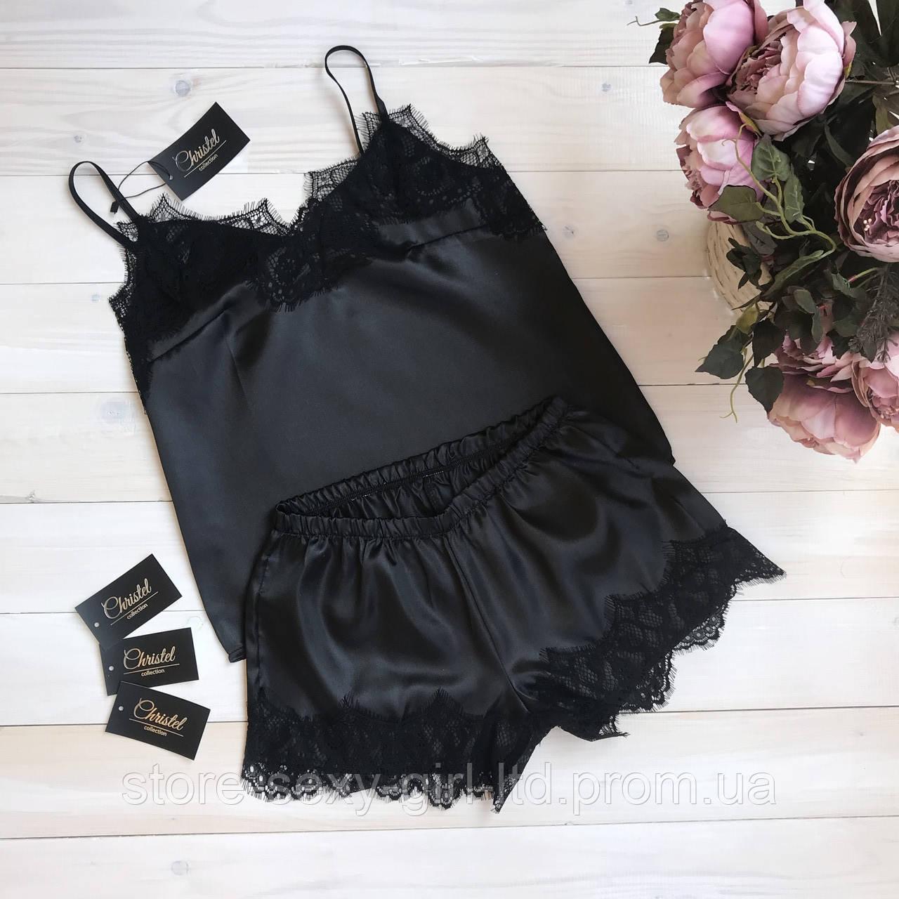 9d7f07f47e26 Черная кружевная атласная женская пижама (шортики+ майка) - размеры: S, M
