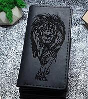 Мужской кожаный кошелек Лев 2.0 черный + упаковка в подарок, фото 1