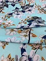 """Одежная ткань """"Yuliia"""" бирюзовый цвет с принтом цветы, фото 1"""