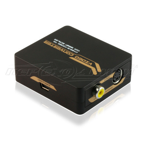 Видео конвертер AV/ RCA/ S-Video to VGA, питание mini USB (высокое качество)