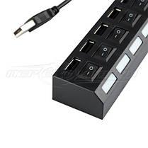 Hi-Speed USB 2.0 HUB, на 7 портов с переключателем на каждый порт, черный, фото 2