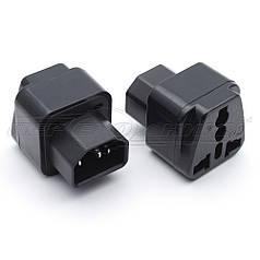 Электрический переходник для ИБП (UPS) 10А, С14 to EU, черный
