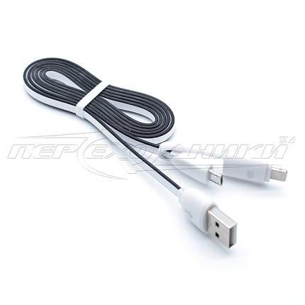 Кабель 2в1 USB to micro USB + Lightning, плоский кабель, 1м Белый, фото 2