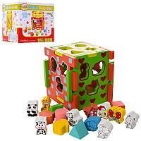 Деревянная игрушка Сортер, куб 15см, фигурки, 16шт, MD1244