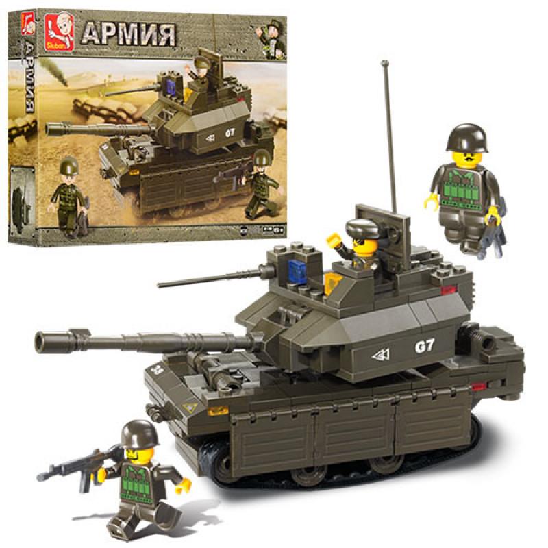 Конструктор SLUBAN Армия, танк, фигурка, 219дет, M38-B0287