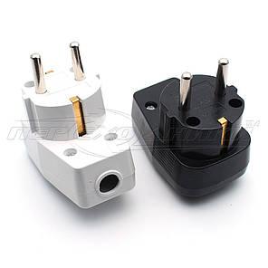 Вилка электрическая с выключателем 16A EU, угловая, фото 2