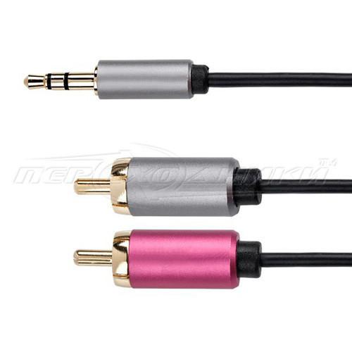 Аудио кабель jack 3.5 mm to 2RCA (премиум качество), 1.8 м