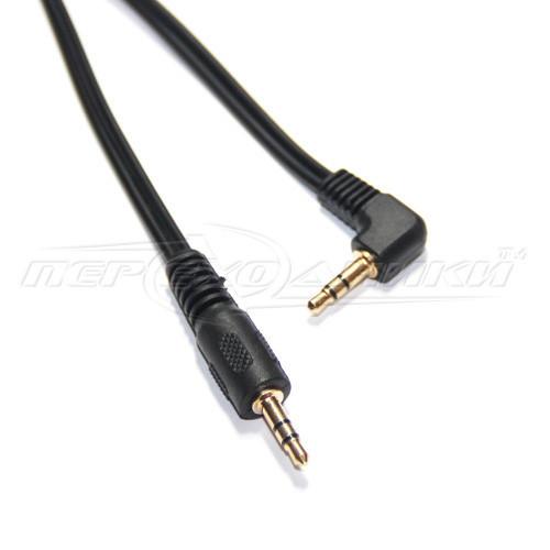 Аудио кабель AUX 3.5 mm jack (эконом качество), угловой, 1.5 м