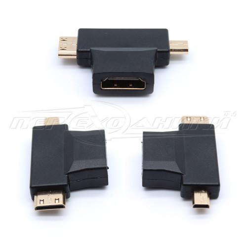 Переходник HDMI (F) to micro HDMI (M) + mini HDMI (M)
