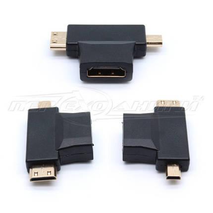 Переходник HDMI (F) to micro HDMI (M) + mini HDMI (M), фото 2
