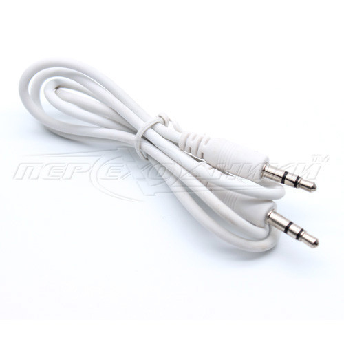 Аудио кабель AUX 3.5 mm jack, 0.65 м, белый