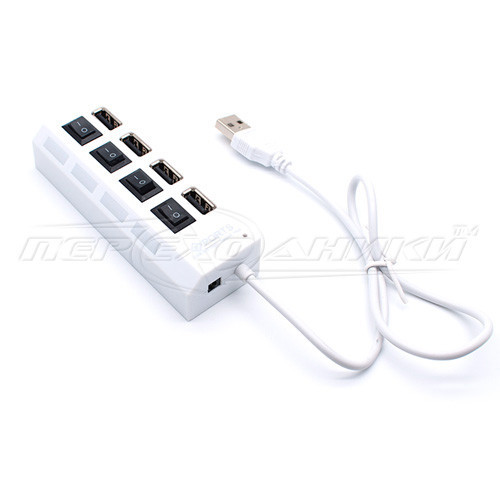 Hi-Speed USB 2.0 HUB, Support 500 Gb HDD, на 4 порта с переключателем на каждый порт, белый
