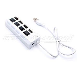Hi-Speed USB 2.0 HUB, Support 500 Gb HDD, на 4 порта с переключателем на каждый порт, белый, фото 2