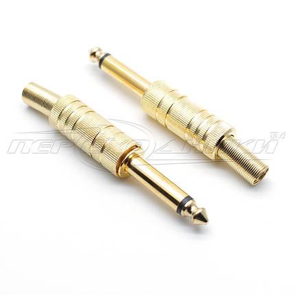Разъем штекер 6.3 мм моно с пружиной (металл), Gold, фото 2