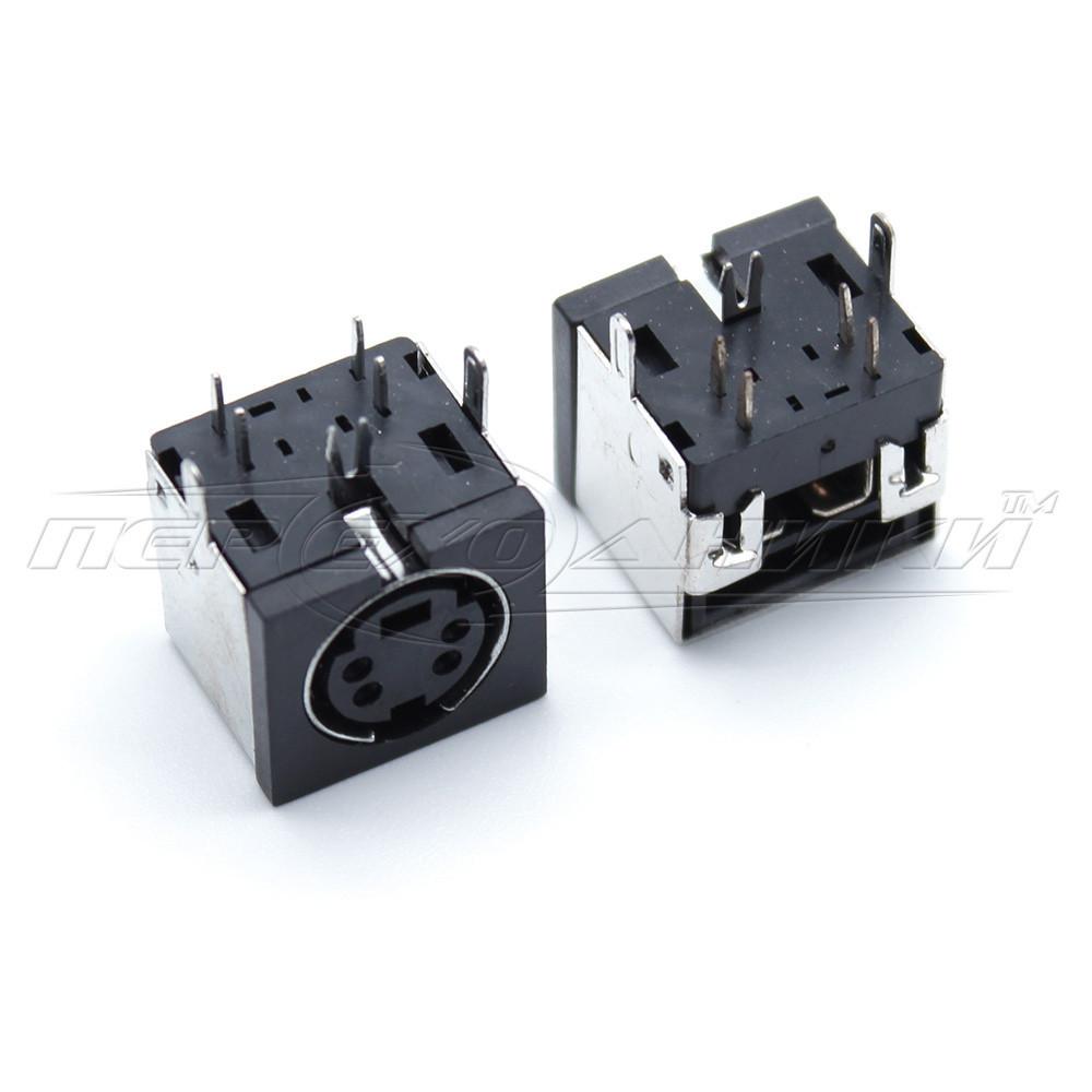 Разъем гнездо mini DIN 4 pin монтажное на плату (пластик)
