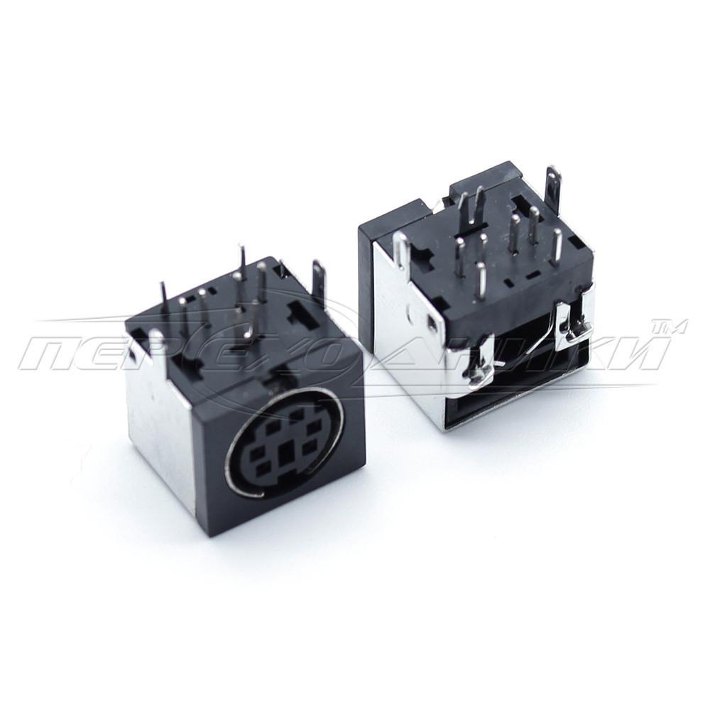 Разъем гнездо mini DIN 6 pin монтажное на плату (пластик)