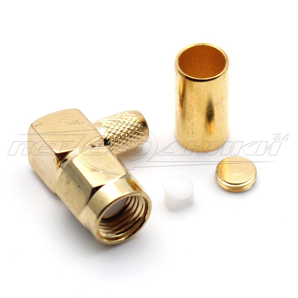 Разъем штекер RP-SMA под кабель RG-58 угловой, Crimp (обжим)