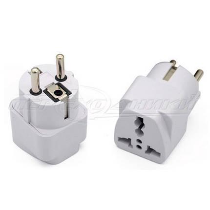 Электрический сетевой переходник 10A UK, US to EU, белый, фото 2