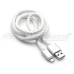 Премиум кабель USB to micro USB, кожаное плетение, белый, 1м