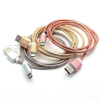 Кабель USB to micro USB, металлическая оплетка, Pink, 1 м, фото 2