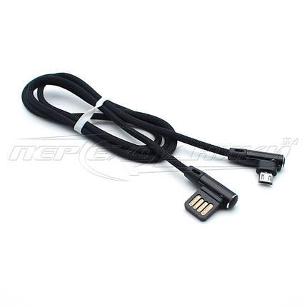 Кабель USB 2.0 угловой - micro USB угловой, в сетке черный (Тип 3), 1м, фото 2