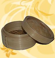 """Бамбукова пароварка для вонтонів, з кришкою, 6"""", 13 см всередині, Китай, АФ"""