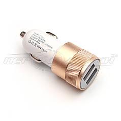Автомобильное зарядное устройство USB 2.4A (2USB), gold