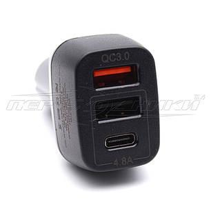 QC3.0 Автомобильное зарядное устройство USB 4.8A (Type-C+2USB), фото 2