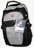 Швейцарский рюкзак WENGER SwissGear 6621 черно-серый с дождевиком, USB-кабелем, разъёмом под наушники