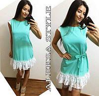 Платье женское, стильное, летнее, с кружевом, бирюзовое, STYLE, 510-083, фото 1
