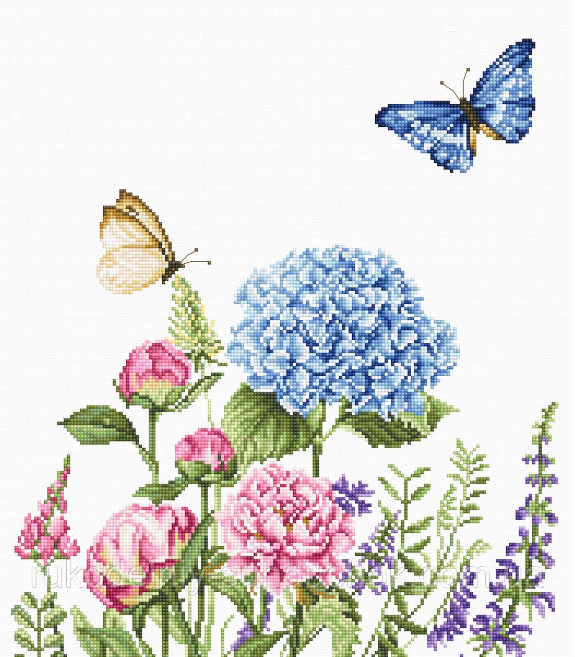 """Набір для вишивання хрестом """"Luca-s"""" BA2360 Літні квіти і метелики"""