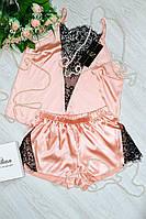 Женская шелковая пижама с кружевом, фото 1