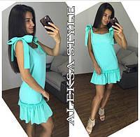 Платье женское, стильное, летнее, с кружевом, бирюзовое, STYLE, 510-089