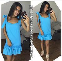 Платье женское, стильное, летнее, с кружевом, голубое, STYLE, 510-091