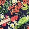 Ткань супер софт принт цветы с листочками А-1