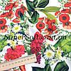 Ткань супер софт принт цветы с листочками А-2