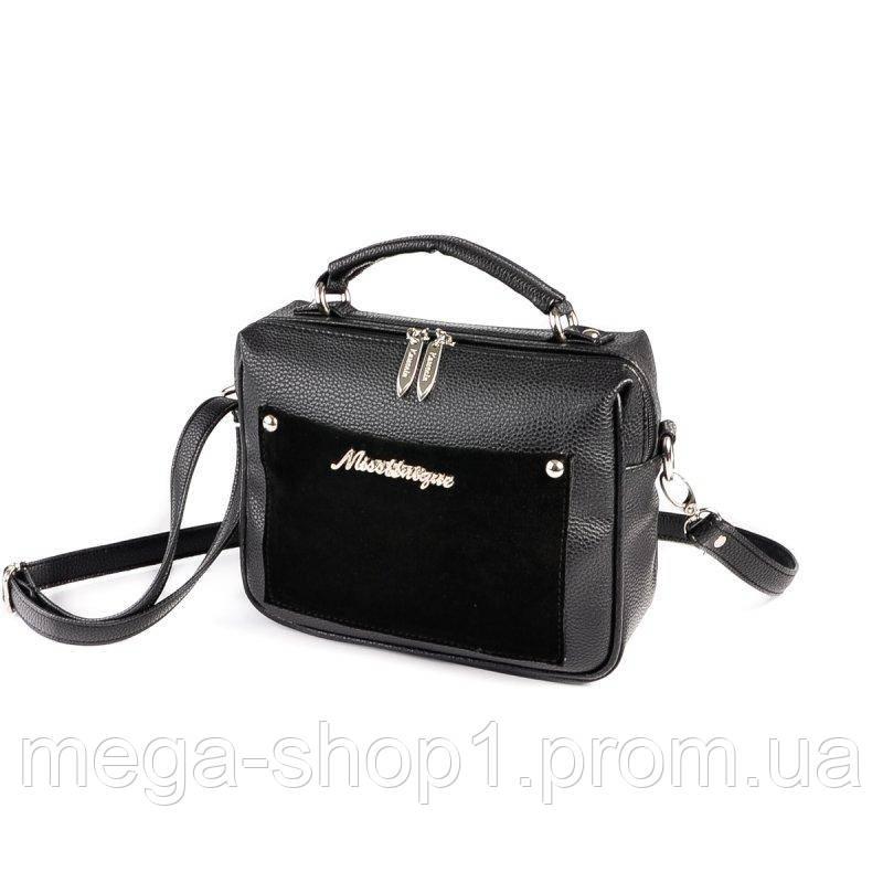 8f1ff51d4471 Женская маленькая сумка-чемоданчик с замшевой вставкой - Alex's Shop одежда  и аксессуары в Днепре