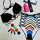 Купальник Пуш-Ап Victoria's Secret PINK Плавки с высокой талией р. L, Черный с цветной полоской, фото 3