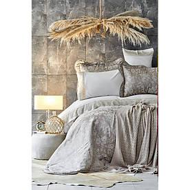 Набор постельное белье с покрывалом + плед Karaca Home - Ennea gold 2019-2 золотой евро