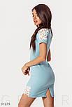 Короткое облегающее платье с ажурными вставками голубое, фото 2