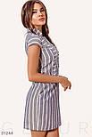 Приталенное платье в полосатый принт синее, фото 3