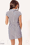 Приталенное платье в полосатый принт синее, фото 4