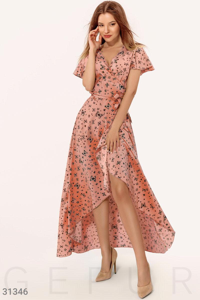 Ассиметричное платье на запах с принтом бабочки розовое