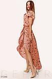 Ассиметричное платье на запах с принтом бабочки розовое, фото 2