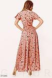 Ассиметричное платье на запах с принтом бабочки розовое, фото 3