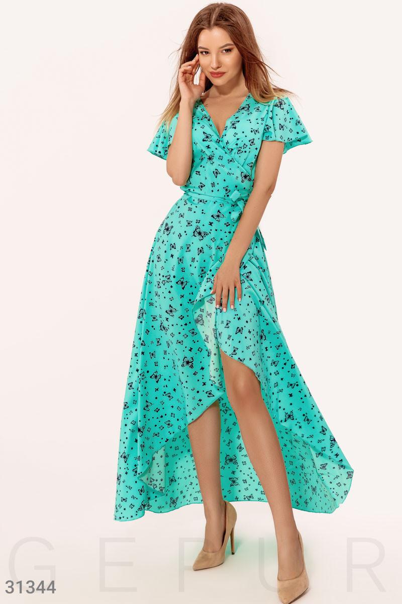 Ассиметричное платье на запах с принтом бабочки ментоловое